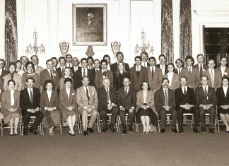 The 31st A-100, the class of Paul Glimer, Jim Steele, John Bradshaw and Stuart Symington, official class photo, Jan. 10, 1986. State Department photo