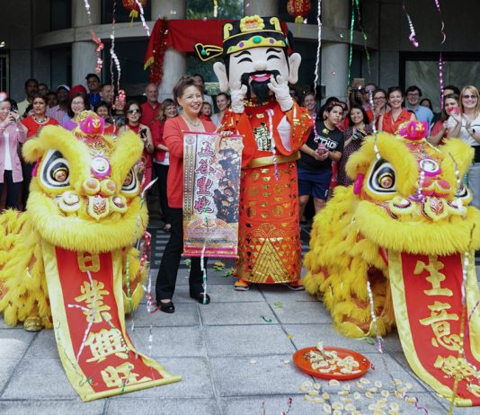On Feb. 15, the U.S. Embassy in Singapore's Foreign Service National Association (FSNA) and American Employee Association (AEA) summoned two playful lions to the Embassy to usher in the Year of the Pig. The traditional lion dance, performed to clanging cymbals and booming drums, is believed to bring prosperity and good luck for the year ahead. In keeping with local Lunar New Year traditions, Chargé d'Affaires Stephanie Syptak-Ramnath and the Embassy community wore red and tossed prosperity salad while offering wishes of good fortune to one another. FSNA and AEA organize various holiday celebrations throughout the year to share cultural traditions between Singaporean and American staff. Gong Xi Fa Cai! Photo courtesy of Embassy Singapore