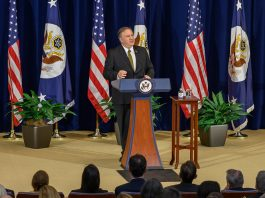 """Secretary Pompeo hosted his second town hall for Department employees on Feb. 8. This meeting followed the longest government shutdown in U.S. history, something the Secretary mentioned while expressing gratitude for the Department's ongoing dedication even in tough times. """"We continued to have a mission,"""" said the Secretary. """"We didn't have our full team at work. And you all did great work. Some of you came in early. Some of you were at home wishing you could be back here, and I respect the work that you did during this difficult time in the Department's history."""" The Secretary went on to discuss the chiefs of the mission conference and employing Department family members. He took questions from the audience and above all reiterated his consistent message that Department employees are """"One team, one mission."""" Photo by Luis A. Jimenez Jr."""