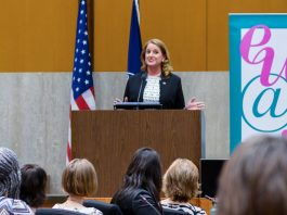 Suzette Kent, federal chief information officer, serves as keynote speaker at a Women's History Month event sponsored by employee affinity group Executive Women at State in the Loy Henderson auditorium, March 19. Kent shared her unique experiences as a female leader in industry and government. Photo by Amanda J. Richard