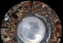 A stitched 360-degree panorama shows the Bosporus separating the European (foreground) and Asian (background left center) sides of Istanbul as seen from Galata Tower.