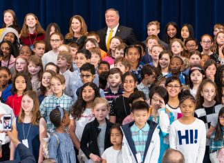 Children that attended Take Your Child to Work Day, April 25, were sworn in by Secretary of State Mike Pompeo and attended an assortment of activities throughout the day. Photo by State Magazine