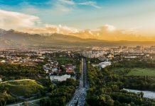 The sun sets over Almaty.