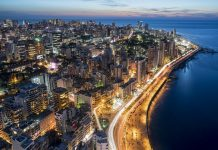 Aerial night shot of the coast of the Beirut cityscape. Photo by Diplomedia