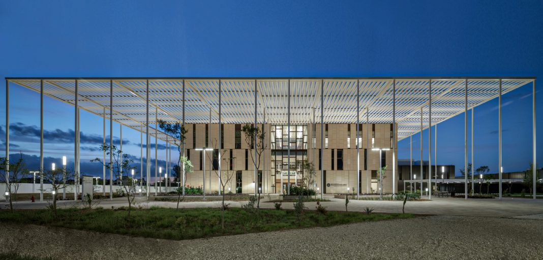 A nighttime view of Matamoros' new consulate building. Photo courtesy of the Bureau of Overseas Buildings Operations