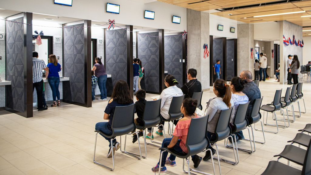 During the 2019 Passport Fair held at the new compound, May 17, attendees wait their turn in the consulate waiting room. Photo by Aaron Cortinas