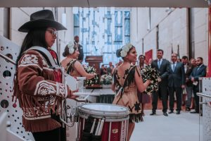 Members of the Ricardo Flores Magon school's marching band entertain guests and consulate staff at the conclusion of Matamoros' 2019 Independence Day Celebration, July 2. Photo by Adan Lozano