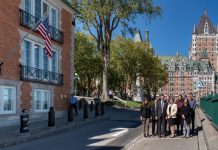 Consulate General Quebec City staff members gather in front of the consulate building on a beautiful fall afternoon in Vieux Quebec. Photo by Isaac D. Pacheco