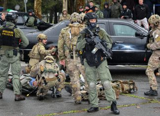 U.S. Air Force Pararescuemen work with the Croatian Special Police to rescue the VIP from an attack on her armored car. Photo by Zeljko Straga