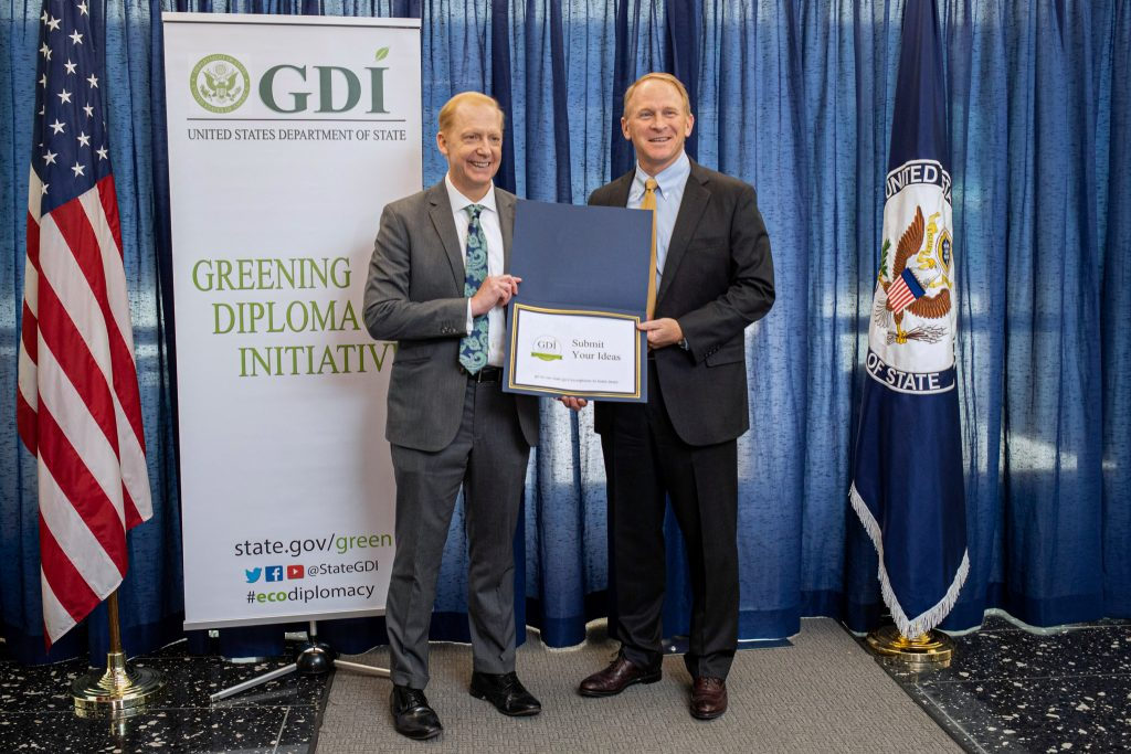 From left: OBO's Principal Deputy Director Henry Jardine and Director of the Office of Management, Policy, Rightsizing and Innovation Jim Schwab announced the first annual OBO Resiliency Award at the GDI Awards Ceremony, April 24. State Department photo