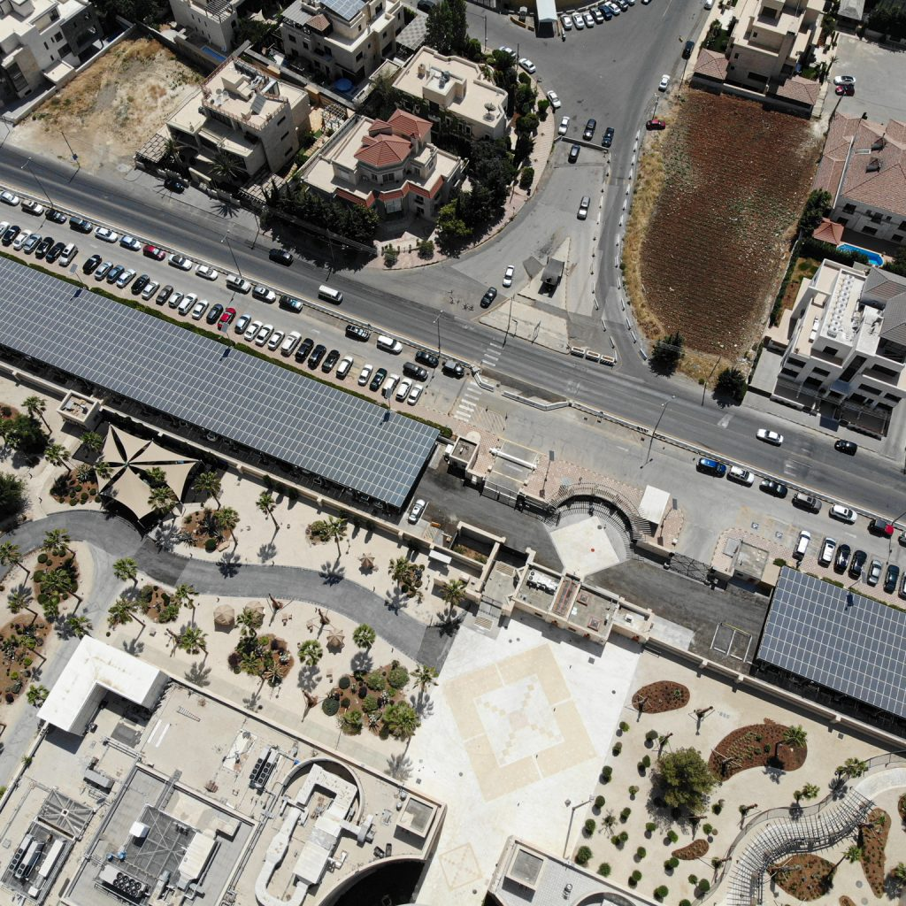 As seen from above, the photovoltaic installation that was at Embassy Amman as part of the greening diplomacy initiative. Photo courtesy of the Bureau of Overseas Buildings Operations