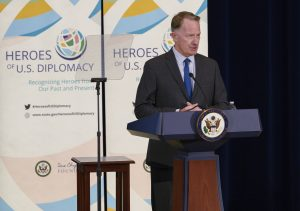 Ambassador Daniel Smith, director of FSI, introduces Secretary of State Mike Pompeo at the inaugural Heroes of U.S. Diplomacy event in the Dean Acheson Auditorium, Sept. 13. Photo by Amanda J. Richard