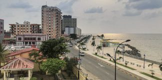View from the top of the Spanish Cultural Center in Bata, Equatorial Guinea's largest city, Jan. 30. The city's oceanfront promenade is several miles long. Photo by Bryan Schiller