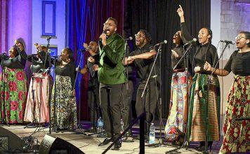 Members of the Reginald Golden Singers gospel ensemble perform during the First American Gospel Festival in Jerusalem, Feb. 6. Photo by Matty Stern