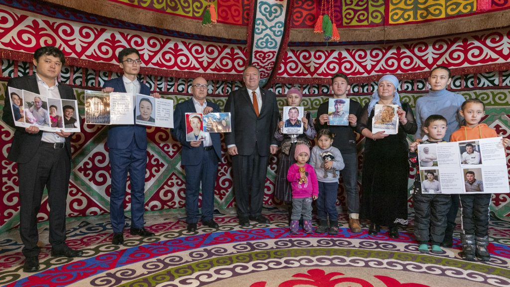 During a visit to Nur-Sultan, Kazakhstan, Secretary of State Mike Pompeo (center) meets with family members of ethnic Kazakh-Chinese who are detained in Xinjiang, Feb. 2. Photo by Ron Przysucha