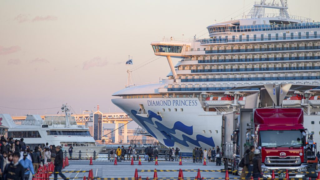 According to the World Health Organization, a Diamond Princess cruise ship, like the one pictured here in Nov. 2017 floating at the Osanbashi Pier in port of Yokohama bay, accounted for more than half of the reported infections of coronavirus around the world outside of China. The CGRCU coordinated the successful repatriation of the more than 300 American passengers from that ship on Department charters in February. Photo by Anotai Y