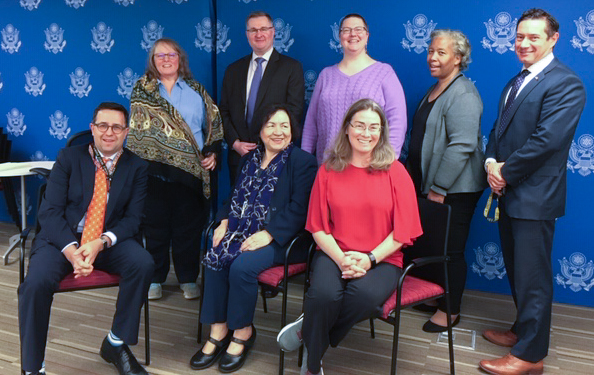 The 2019/2020 Disability Action Group council members, Oct. 2019. From left: (front row) Chairperson Ed Canuel, Council Alum Myrna McKee, Vice Chair Elizabeth Latham; (back row) Post Representative Coordinator Beth Daugharty, Communications Officer Ben Sides, Foreign Service Representative Heather Pishko, Secretary Sylvia Curran, and Leadership Liaison Danny Stoian. Photo by Kristin Damigella
