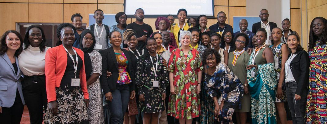 Ambassador Stephanie S. Sullivan (center) joins participants at the Alumni Thematic International Exchange Seminar. Photo courtesy of Embassy Ghana