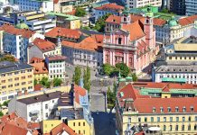 Ljubljana city center and aerial view of Prešeren Square. Photo by Xbrchx