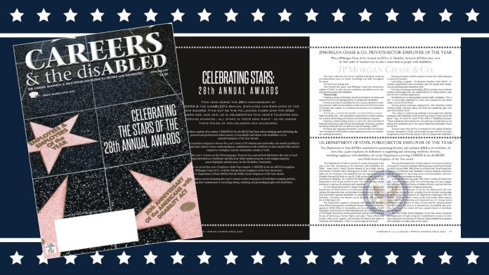 Careers and the Disabled Cover showing Department of State award.