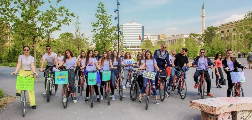Members of the U.S. Embassy Youth Council in Tirana's main square during an Earth Day bike ride to raise awareness about environmental issues, April 22, 2019. Photo courtesy of U.S. Embassy Youth Council