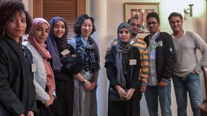 Focus group members with Deputy Chief of Mission (first on right) Junaid Munir and Public Affairs Officer Zennia Paganini (fourth from left) at the Munir's house, Oct. 2019. Photo by Elisabeth el-Khodary