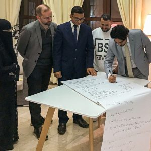 A focus group makes their list of priorities at the house of a Yemen Affairs Unit officer, Nov. 2019. Photo by Zennia Paganini