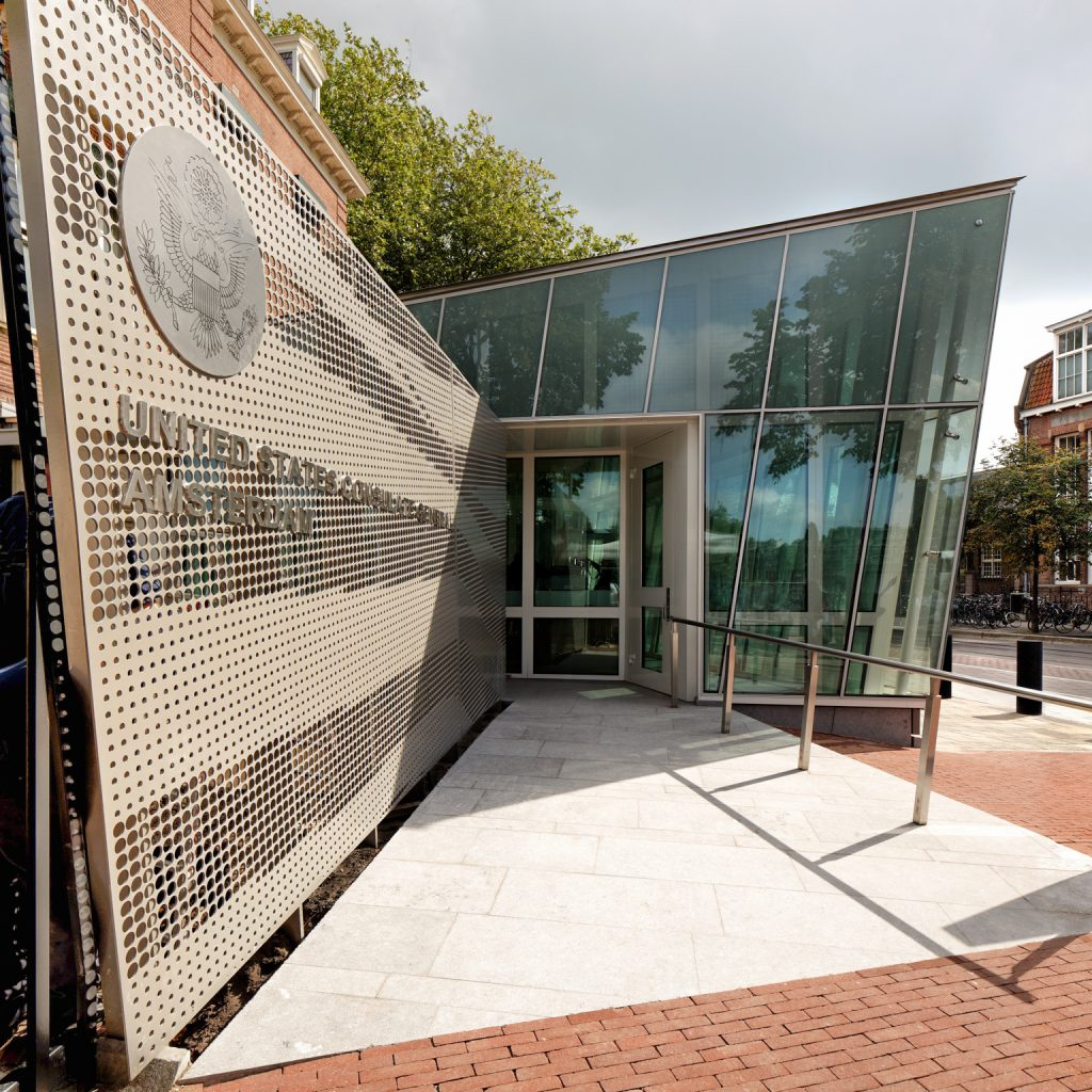 Close-up view of the U.S. Consulate General in Amsterdam's accessible entryway. Photo by Ewout Huibers