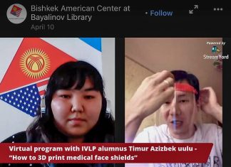 "During a virtual ""USG Alumni Talk,"" International Visitor Leadership Program alumni Timur Azizbek uulu (right), discusses how he produced a face shield on the Bishkek American Corner Makerspace 3D printer. Photo courtesy of Embassy Bishkek"