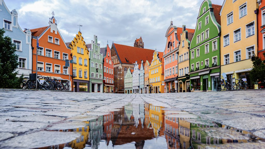 Traditional gothic houses in the Old Town of Landshut, a historical town in Bavaria. Photo by Boris Stroujko