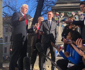 Vice President Mike Pence led the U.S. delegation to the 2019 Munich Security Conference. With more than 100 high-level delegations in attendance each year, international media descend on Munich to cover the latest international security policy developments. Photo courtesy of Mission Germany