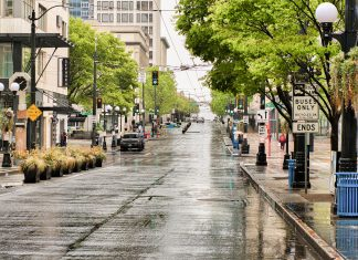 A deserted West Lake Mall area and Pine Street in downtown Seattle during the COVID-19 stay-at-home order, April 22. Photo by Michael J. Magee