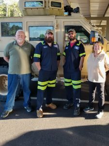 From left: Gary Dorton, Jeremiah Lester, Steve Sember, and Kathy Collins are four of ten disabled military veterans that work at the Foreign Affairs Security Training Center (FASTC) Vehicle Maintenance Facility (VMF) in Blackstone, Va. State Department photo