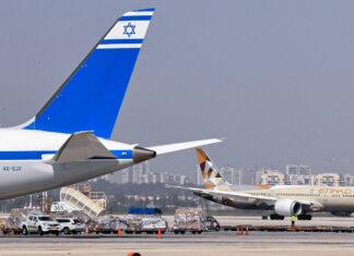 A delegation from the UAE arrives in Israel to participate in the signing ceremony of four agreements relating to investment, scientific cooperation, civil aviation, and visa exemptions as part of the Abraham Accords, Oct. 20. Photo by Matty Stern