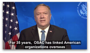 Secretary of State Mike Pompeo provided opening remarks in a pre-recorded message to participants. Photo courtesy of OSAC