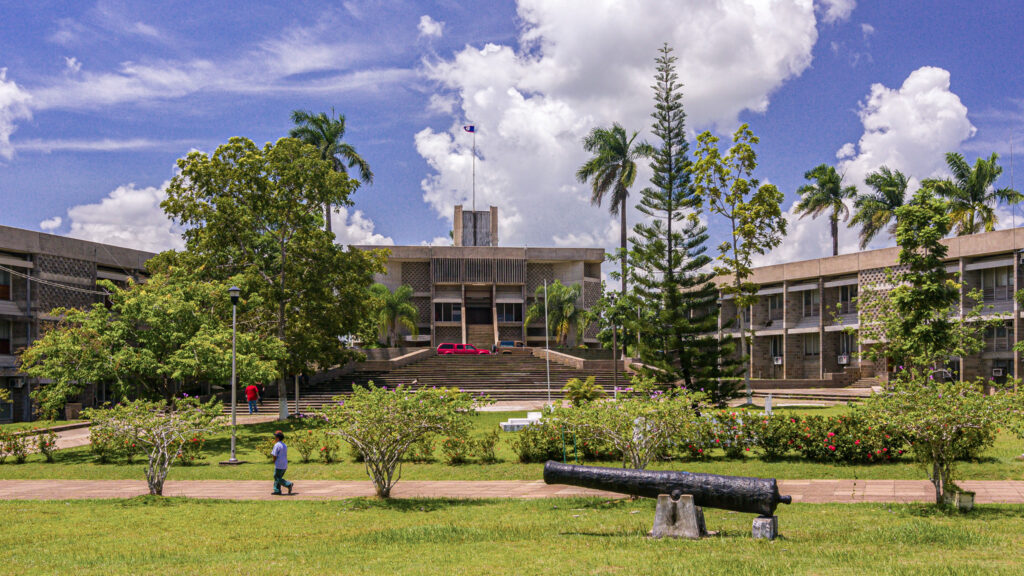 Located in Belmopan, the National Assembly Building of Belize is home to Belize's two houses of parliament—the House of Representatives and Senate of Belize. Photo by Rob Crandall