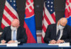 From left: Bureau of European and Eurasian Affairs Acting Assistant Secretary Philip T. Reeker and Slovak Political Director Roman Bužek sign a memorandum of understanding establishing a regular U.S.-Slovakia Strategic Dialogue, in Washington, October 2020. State Department photo