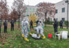 The Regional Security Office personnel at Embassy Sarajevo conduct an exercise for weapons of mass destruction (WMD) decontamination to introduce host nation police officers to basic chemical and biological agents, Nov. 17, 2020. Host nation police officers (standing, left) look on and learn as local guard force WMD first responders conduct the exercise. State Department photo