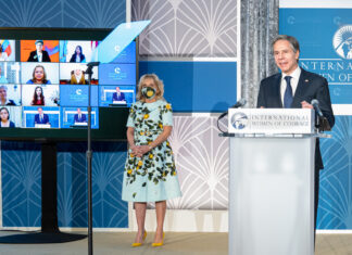 Secretary of State Antony Blinken delivers remarks at the 2021 International Women of Courage Awards virtual ceremony with First Lady Jill Biden at Department of State headquarters in Washington, March 8. Photo by Freddie Everett
