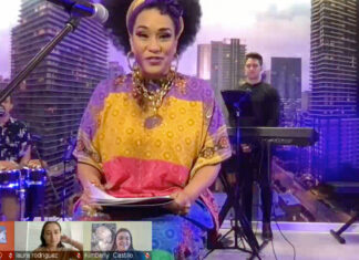 Grammy and two-time Latin Grammy Award winner Aymée Nuviola performs a virtual concert at Fort Benning, Ga., Feb. 24. Screenshot courtesy of USAID