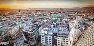 An aerial sunset view of Vienna. Photo by Calin Stan