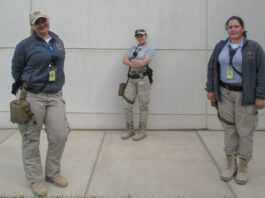 From left: Local guard force members Yelena Sakova, Olga Seyidova, and Milayne Abasova at the new embassy compound, May 11. Photo by Matthew A. Shedd