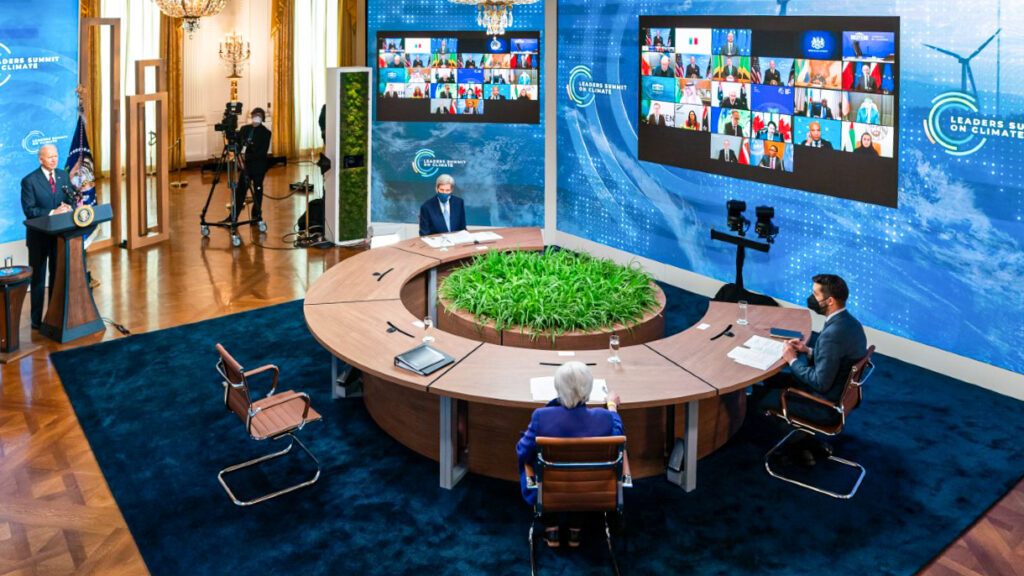 President Joe Biden (far left) kicks off the virtual Leaders Summit on Climate on Earth Day, April 22. Photo by Adam Schultz