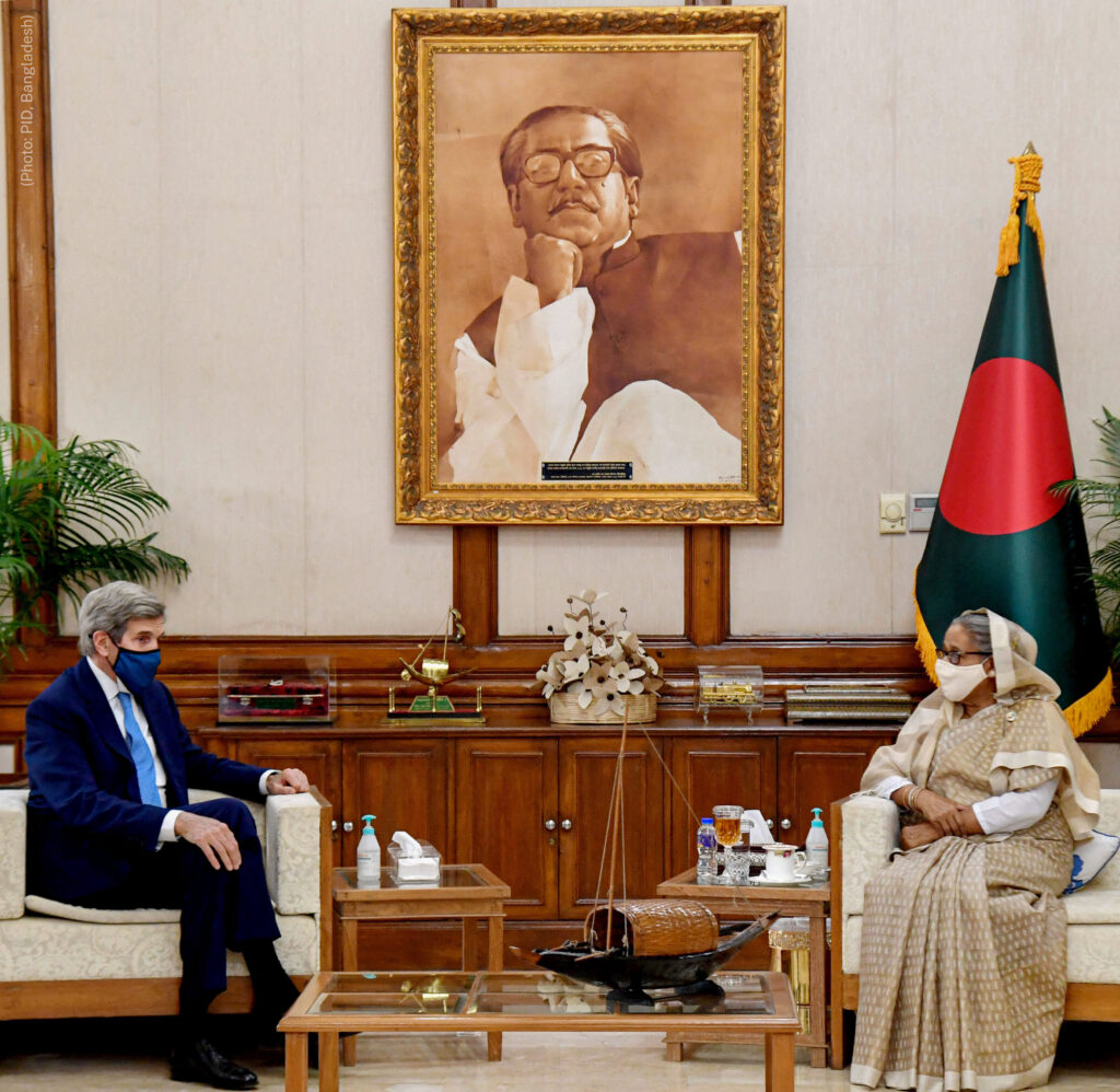 Special Presidential Envoy for Climate John Kerry meets with the Honorable Prime Minister Sheikh Hasina at the Padma Guest House in Dhaka, Bangladesh. Photo courtesy of the Bangladesh Prime Minister's Office