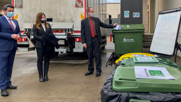 U.S. direct-hire and Greening Diplomacy Initiative Award winner Reid Deaver (right) gives the North Macedonian Minister of the Environment Naser Nudedini (left) and Ambassador Kate M. Byrnes (center) a tour of Embassy Skopje's environmental projects. State Department photo