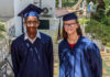 From left: Students Anthony Carrie and Ellie Chester attend their graduation from American International School of Algiers at Embassy Algiers, June 2. Photo by Jessica Lilley