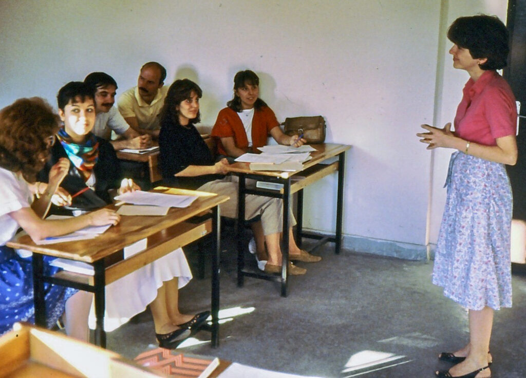Kitty Purgason (far right) teaches English at Gazi University during her first Fulbright experience in Ankara, 1986. Thirty-one years later, Purgason received a second Fulbright award to Tajikistan. Photo courtesy of Kitty Purgason