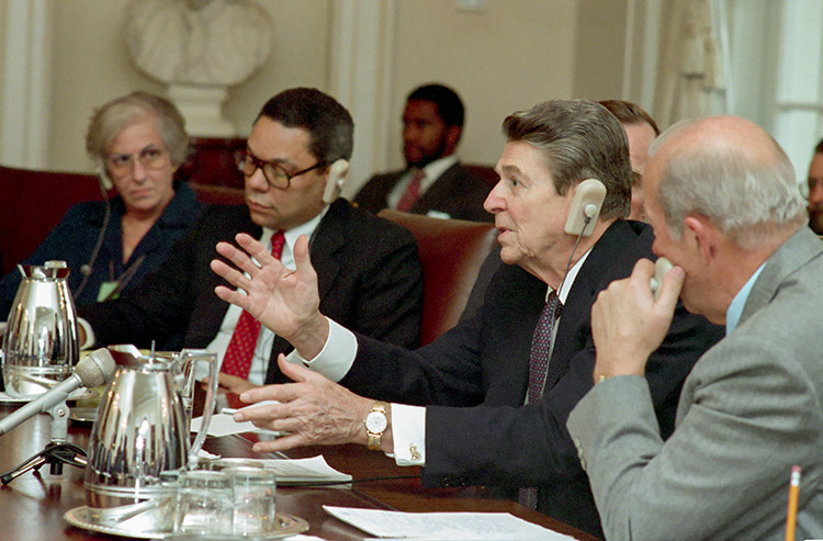 From left: Rozanne Ridgway, Colin Powell, President Ronald Reagan, and George Shultz at the First Plenary session with General Secretary Mikhail Gorbachev of Union of Soviet Socialist Republics in the cabinet room, Dec. 8, 1987. Photo courtesy of the National Archives Catalog