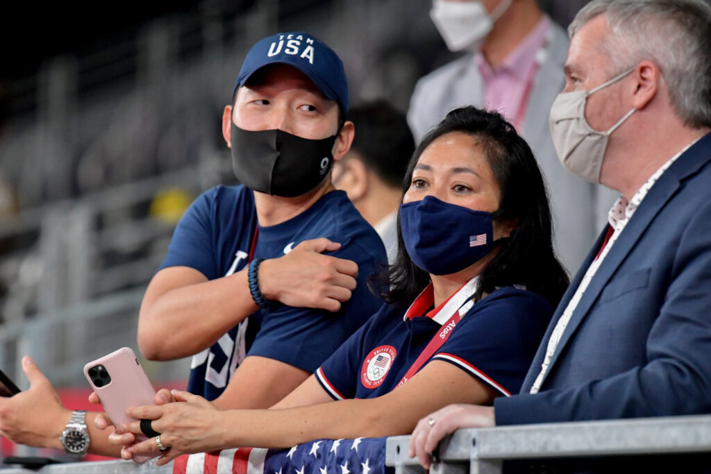 A Diplomatic Security Service special agent serving as a field liaison officer (left) attends the 2020 Tokyo Olympics Taekwondo event, July 25. Photo courtesy of the Diplomatic Security Service