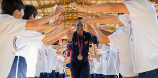 Olympic Gold Medalist sprinter DeeDee Trotter in Japan, 2020. Photo courtesy of Embassy Tokyo